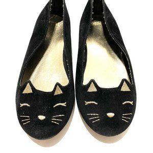 Gymboree Black Velvet Kitty Ballet Flats